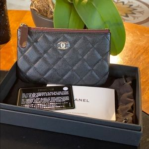 New Chanel 19B Mini O-Case Pouch Black Caviar